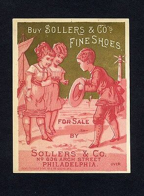 1880 CALENDAR Trade Card for SOLLERS & CO FINE SHOES Philadelphia Arch St