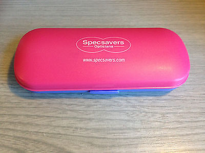 Specsavers Hard Glasses Spectacle Case Pink Purple Logo Travel eye Glasses