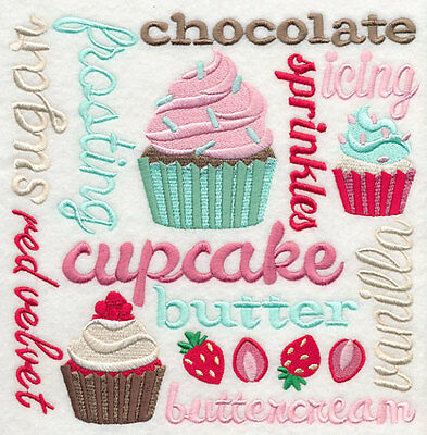 Embroidered Cupcake square quilt block,sewing,cake fabric,cushion panel,cupcake