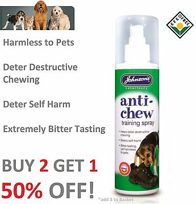 Johnsons Anti Chew Dog Puppies Training Spray 150ml Extremely Bitter Tasting