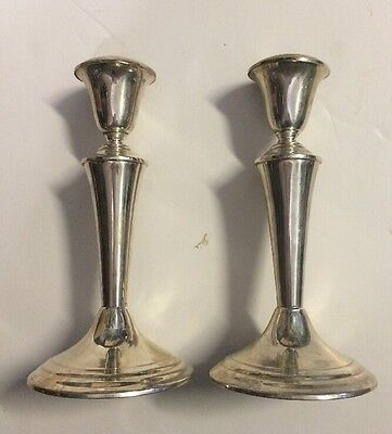2 Vintage GORHAM Sterling Silver CANDLESTICKS Weighted PAIR 828grams SCRAP & USE