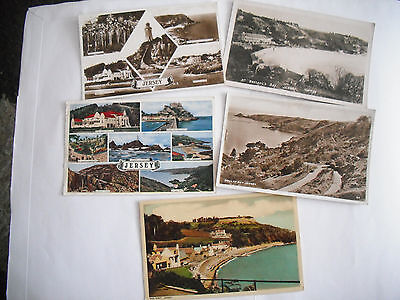 5 x POSTCARDS - VIEWS OF JERSEY - 4 POSTED - 1 UNPOSTED RP (SLIGHT DAMAGE)