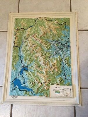 Vtg KISTLER GRAPHICS 3D SATELLITE MAP Rocky Mountain National Park Self Framed