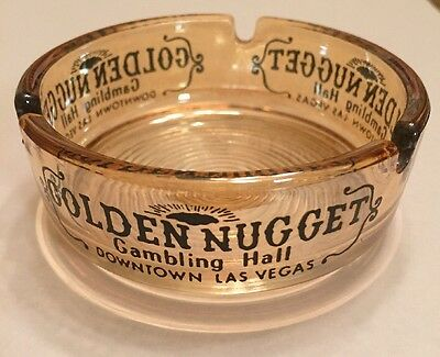 Vintage Las Vegas Casino Golden Nugget Gambling Hall Amber Glass Ashtray