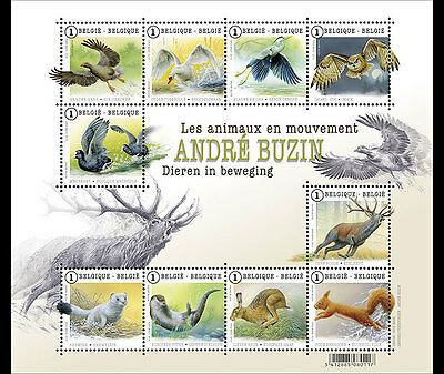 BELGIUM 2015,Buzin animals in motion, SHEET MNH (fr)