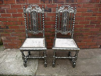 Victorian solid oak carved barley twist hall/dining/bedroom chairs x2