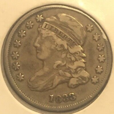 1833 Capped Bust Dime US Silver Coin  In About XF Condition  Problem Free #616