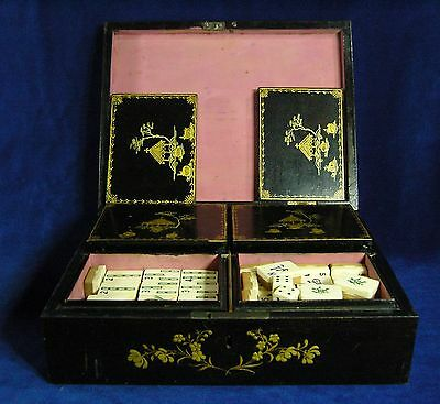 Antique Chinese Bovine Bone & Bamboo Mah Jong in Lacquered Wooden Box - Mahjong