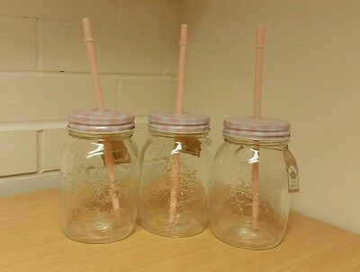 Glass Mason Drinking Jar with Metal Pink Gingham Checked Lid + Plastic Straw