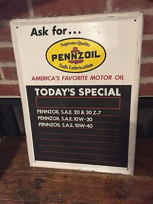 1970s PENNZOIL Vintage Motor Oil Tin Advertising Display sign w/ Chalk board Gas