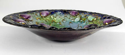Signed Louise Arnaud for Limoges 1920's EMAUX D'ART Heavy Enamelled Copper Dish