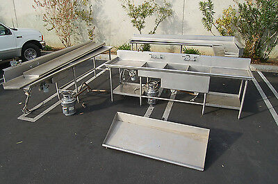 3 Compartment Stainless sink dishwasher tables/clean/dirty Disposal Restaurant