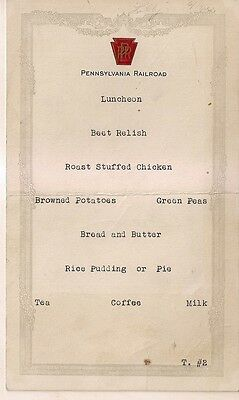 1932 Pennsylvania Railroad Luncheon Seating Card with Names