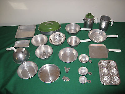 Vintage Metal Pots and Pans, Cookware - 24-piece Kitchen Play Set
