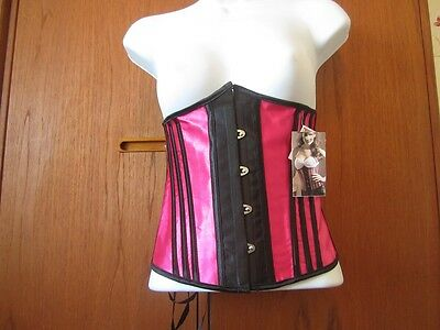 Womens Corset-Under bust/Pink satin with black stripes - 1216-0052-2XL