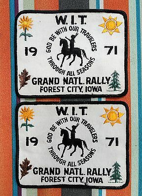 2 vintage W.I.T. GRAND NATIONAL RALLY Patches Forest City, IOWA IA ~1971~