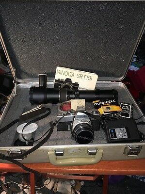 Minolta SRT 101 Camera Case and Lens Lot