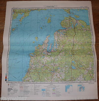 Authentic Soviet USSR Military Topographic Map Traverse City, Michigan, USA #99