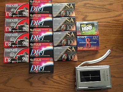 Lot 15 New Audio Blank Cassette Tapes & General Electric Tape Cassette Recorder