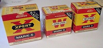 "SEE! 3 Collectible Vintage ""WINCHESTER & WESTERN"" Shell Boxes 1 Price!"