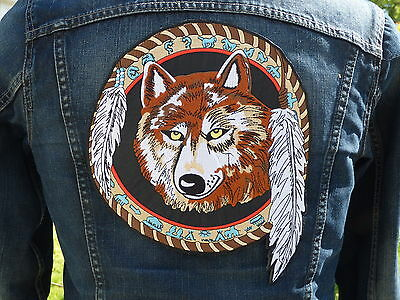 GRAND ECUSSON PATCH THERMOCOLLANT/ LOUP ATTRAPE REVE plume indien country biker