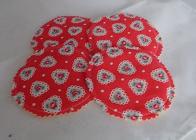 Make Up Remover Wipes Washable Reusable Pads 4 Cath kidston Red Lace HeartRose
