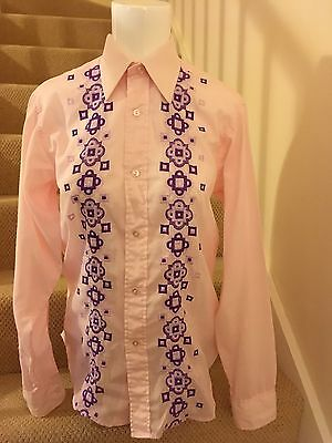 Vintage 1970's Pattern Front Point Collar Pink shirt size 15