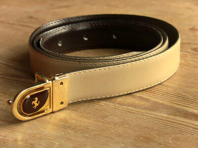 Vintage C & A CREAM LEATHER BELT 38-40 Inch Waist - Horse buckle