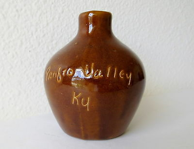 "Little 3"" Brown Scratch Jug Pitcher Mini Miniature Pottery Renfro Valley Ky"