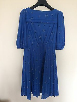 Vintage Electric Blue Patterned Dress Size 8-10