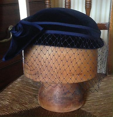 Navy Blue Velvet Vintage Hat With Bow And Veil