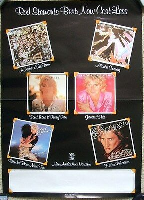 ROD STEWART Best Now Cost Less Official UK Promo Poster 1983  Riva WEA Records