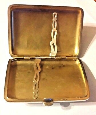 Antique Beautiful Sterling Silver Cigarette Case Curved
