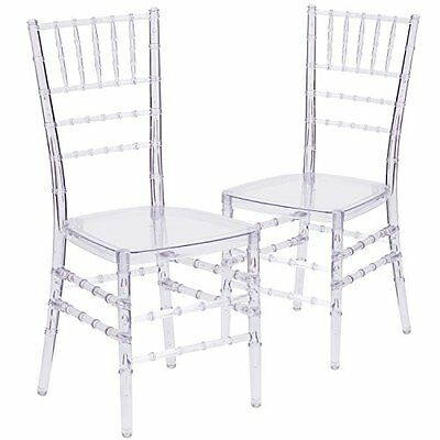 Flash Furniture Elegance Crystal Ice Stacking Chiavari Chair (2 Pack), Clear