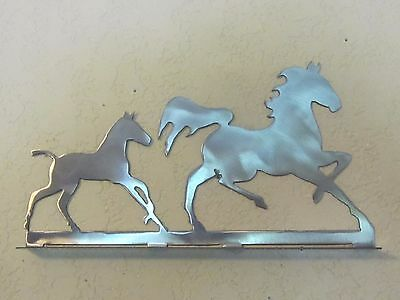 Mare And Colt Mailbox Topper (No Name) Steel Raw Metal Finish