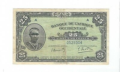 French West Africa - 25 Francs  1942