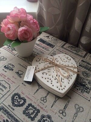 Shabby Chic Cream Lace Effect Heart Coasters