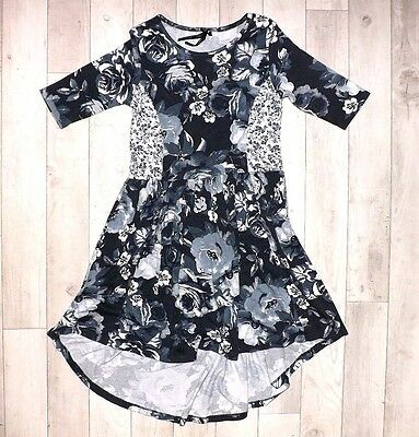 Next Grey Floral 3/4 Sleeve Cotton Dress For Girls 6-7 Y 7 Y