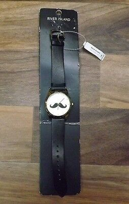 River Island Black Mustache Watch For Mens Or Boys  New