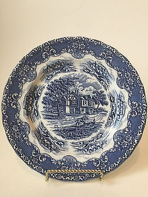 Vintage W.H. Grindley ENGLISH COUNTRY INNS Transferware Blue White Staffordshire