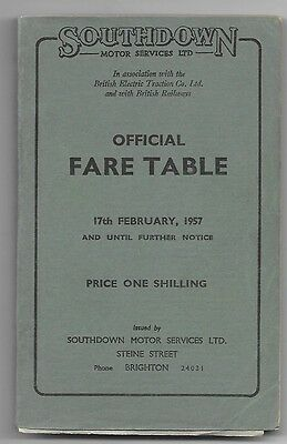 Southdown Motor Services Official Fare Table 17.2.1957