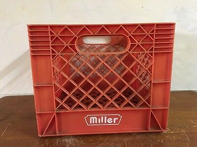Vintage Milk Crate, ( Miller ) Red Plastic 1988