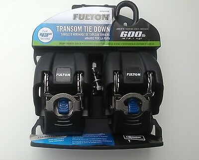 FULTON RETRACTABLE BOAT RATCHET TIE DOWN STRAPS - STAINLESS STEEL - 1 x PAIR