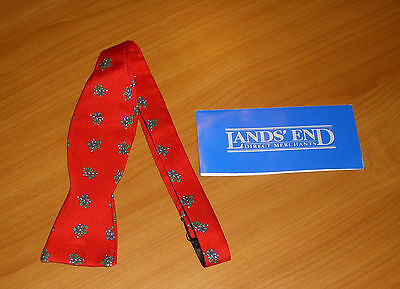 Land's End Christmas Red Bow Tie with Candy Cane Pattern and Instruction Book
