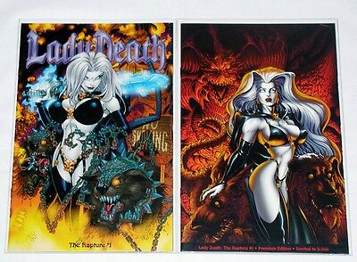 Lady Death The Rapture #1 - Lot of 2 Limited Variant Covers - Chaos Comics HTF