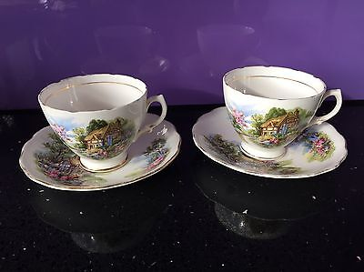 2 X Vintage Royal Vale Bone China Tea Cup & Saucer Set, Vintage Shabby, Floral