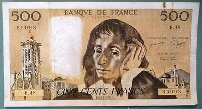 FRANCE 500 FRANCS, P 156 c, ISSUED 05.12. 1974,  PASCAL