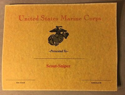 U.S.M.C. Scout Sniper Certificate. Comes With Embossed Seal.