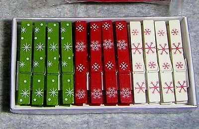 """Pkg of 12-pcs 3"""" Wood Craft Clothespins: Winter Snowflake Design~Red/White/Green"""