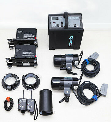 LIKE NEW | Broncolor A2R Pro battery flash kit | 2 heads + 2 new batteries